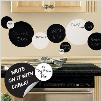 Black White Dots 31 Big Removable Wall Decals Dry Erase Chalk Room