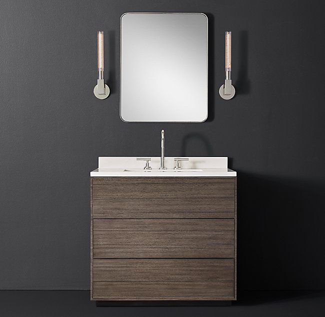 RH Modernu0027s Bowen Single Vanity:Free Of Visible Hardware And Possessing A  Rich Wood Grain, Our Bowen Bath Collection From The Van Thiels Reflects The  ...