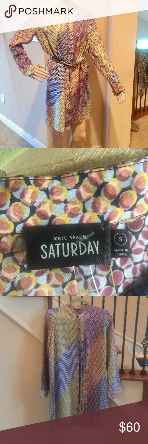"Kate Spade Saturday dress. NWT. Silk Pure silk Kate Spade ""Saturday"" dress.  NWT size small 100% pure silk kate spade Dresses Long Sleeve"