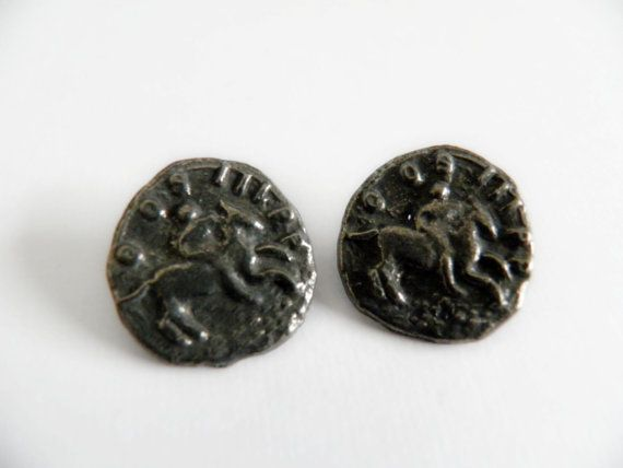 Pair of Equestrian Buttons Silver Metal by ButtonsFromTheAttic, $4.00