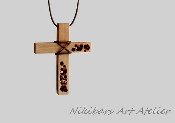Hand Carved Wood Cross Necklace Made Of Apple Wood And Waxed Cord Cross Height 2 1 8 Inches 55 Mm The Length Of Wood Crosses Wooden Cross Wood Jewellery