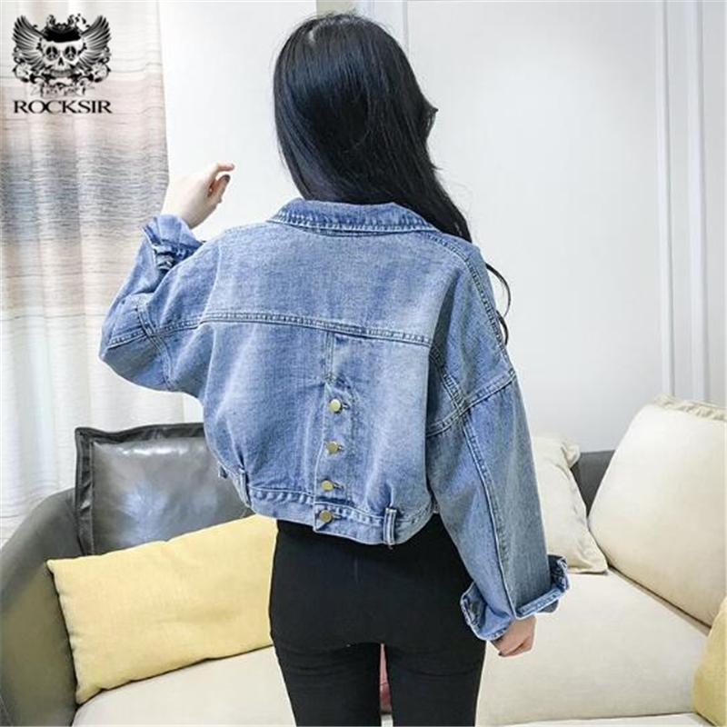 ed8969b2c37 Rocksir 2018 Batwing Short Denim Jacket Women Harajuku Vintage Loose Jeans  Coat Back Button Cropped Streetwear