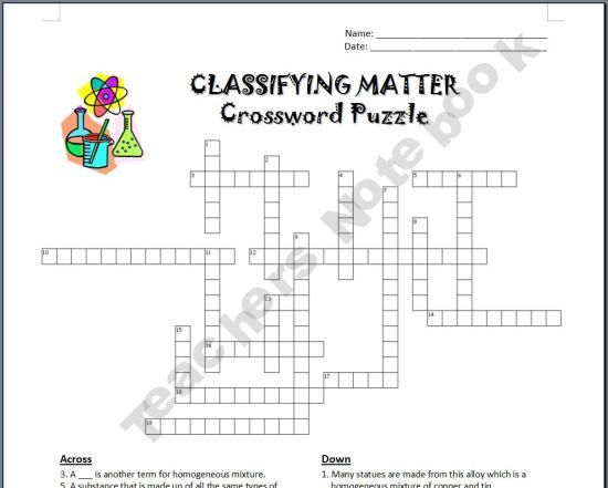 Classifying Matter Crossword Science 6th 12th Grade Pinterest