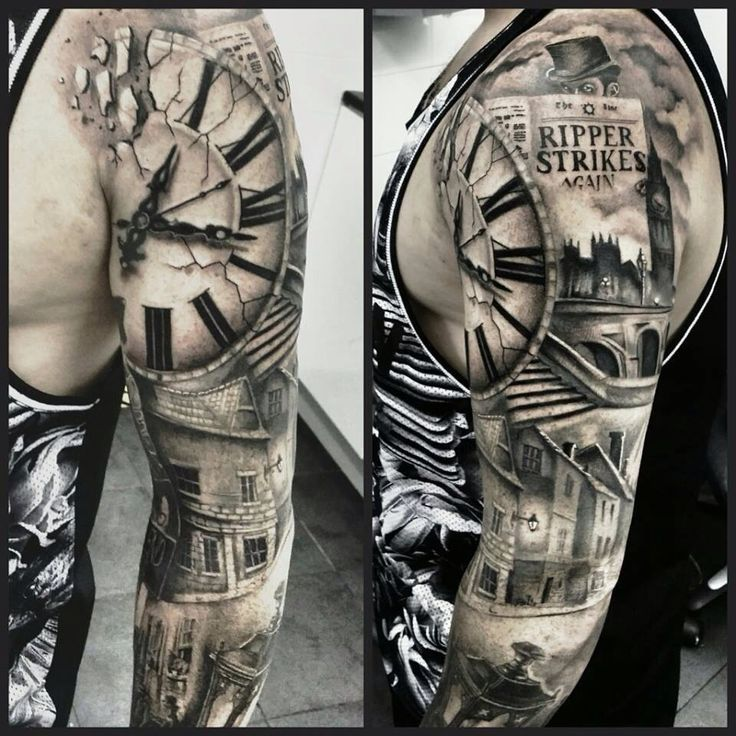 Pin by Jessa Blanch on Tattoos Clock tattoo, Sleeve