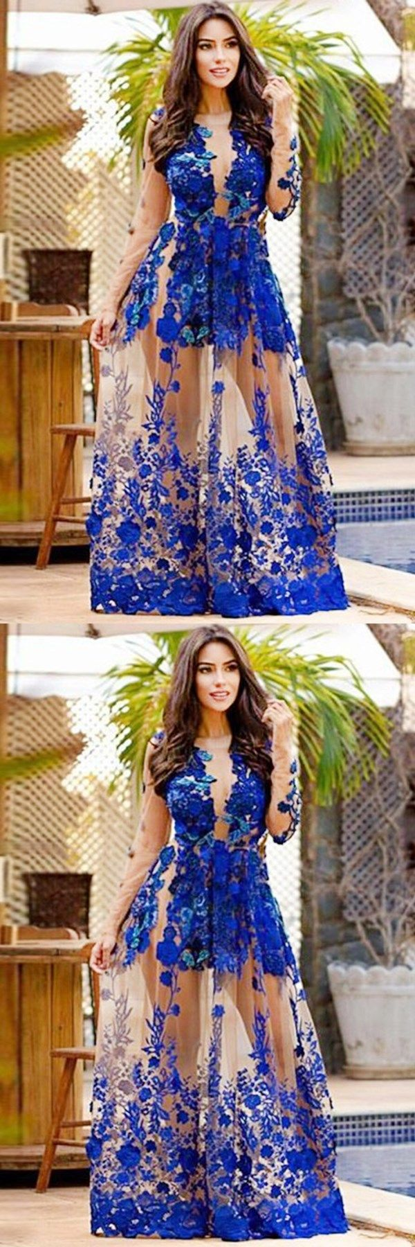 Royal blue long sleeves appliques jewel floorlength prom dress with