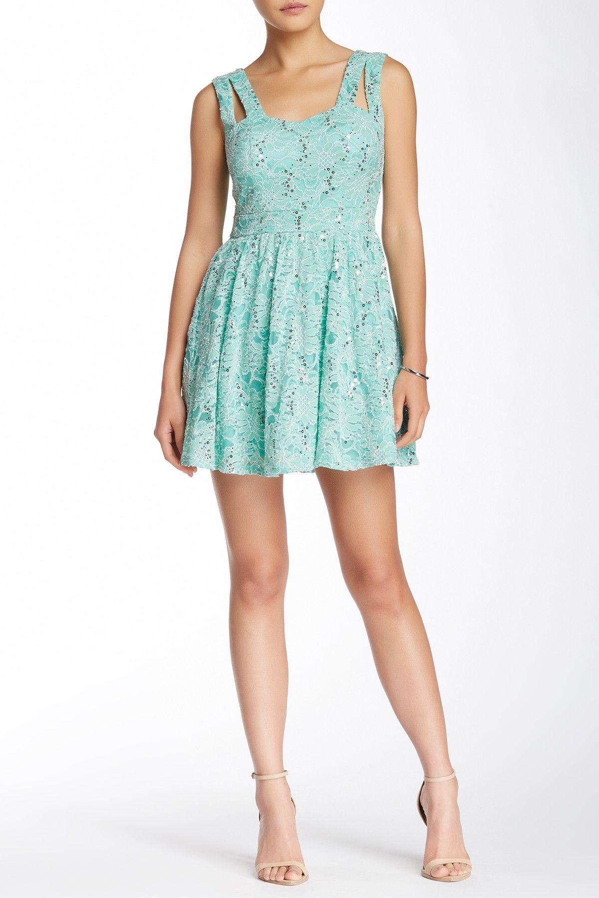 As u wish sleeveless cutout square lace skater prom dress my style