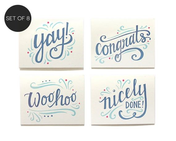Photo of Congratulations Assorted Note Card Set of 8 (A2) – Congrats Boxed Set – Graduation Card Set