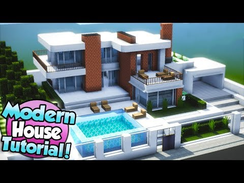 40 Minecraft How To Build A Large Modern House Tutorial 15 Youtube Minecraft House Tutorials Minecraft Modern Easy Minecraft Houses