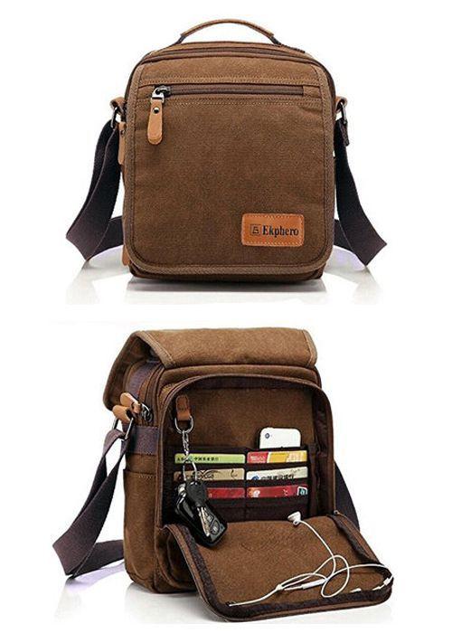 Men s best friend     Ekphero Multifunctional Casual Canvas Crossbody Bag  Vintage Retro Handbag Zipper shoulder  bag  men  gadget 359471e00381b