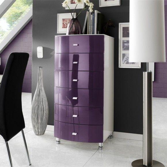 Kommode Lucio in Hochglanz Purple und Weiß ATOS! Living Room