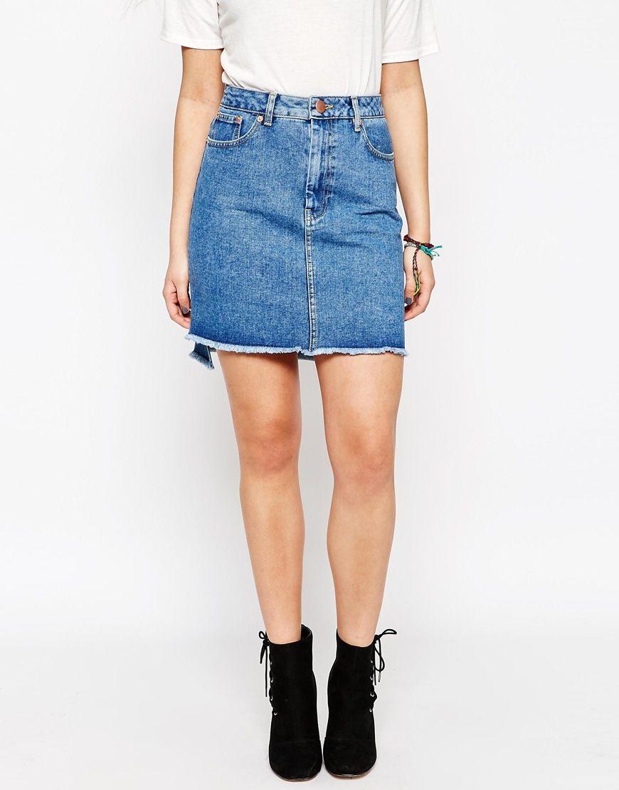 Image 4 of New Look Frayed Hem Midi Denim Skirt | work clothes ...
