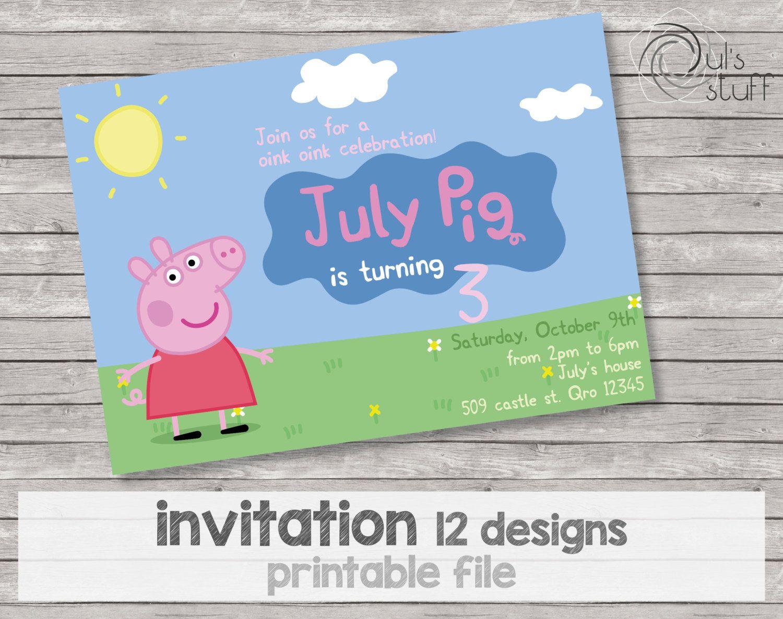 Customizable printable Peppa Pig party invitations | Pig birthday