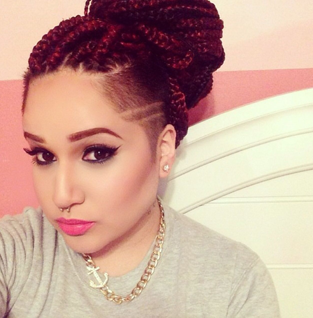 can i just <3 box braids with shaved side she's killing this