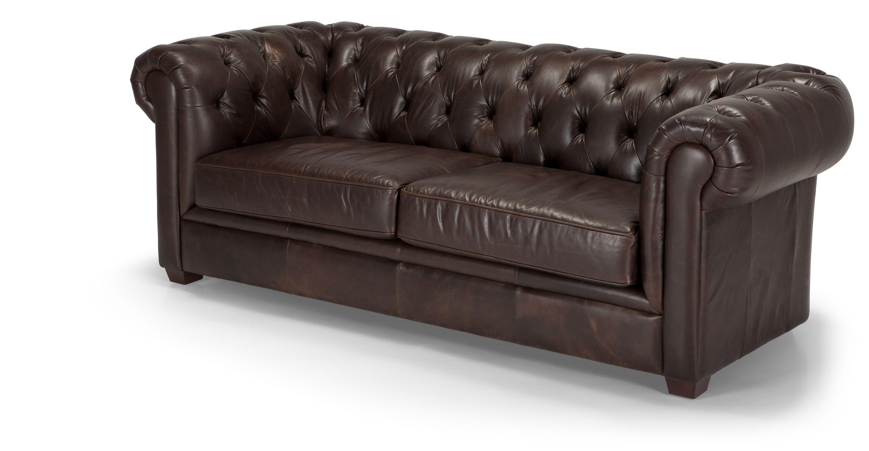 Mayson Chesterfield 3 Seater Sofa, Antique Brown Premium
