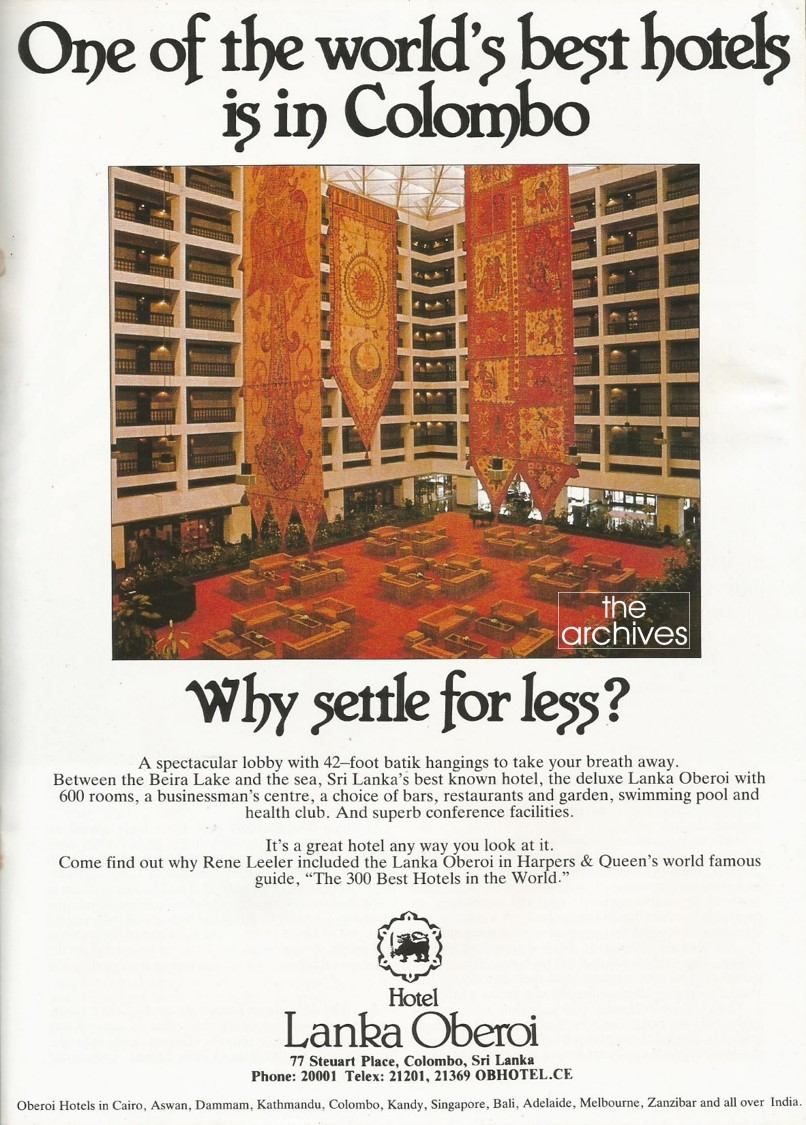 An Advert For Hotel Lanka Oberoi Featuring The Atrium