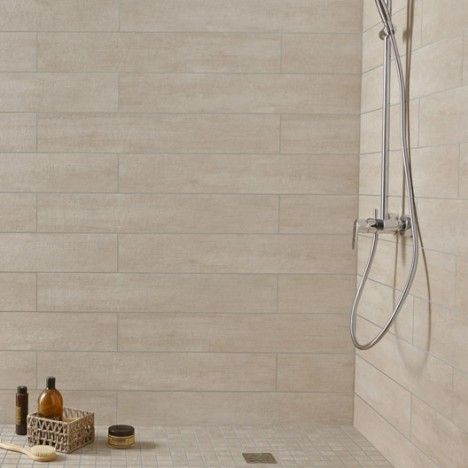 Carrelage mural taiga premium en gr s beige 15 x 90 cm for Carrelage salle de bain beige