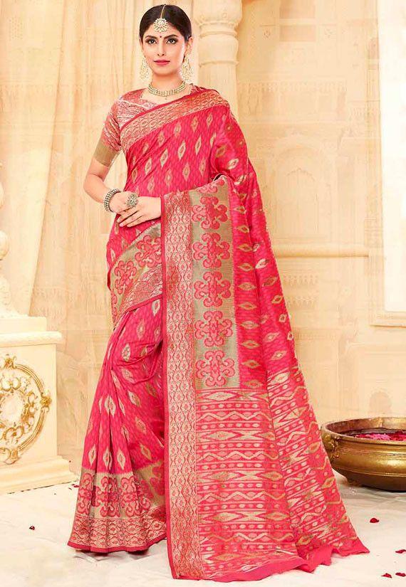 ccdaed7b245f0 Cherry Pink and Golden Tussar Silk Saree - Women