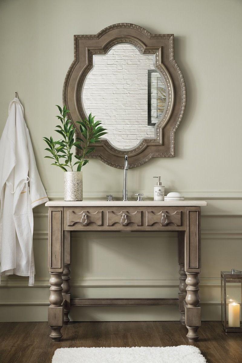 Castilian 39 Single Sink Ada Bathroom Vanity Empire Gray Finish Matching Mirror Old World Sty James Martin Furniture Single Bathroom Vanity Beige Marble