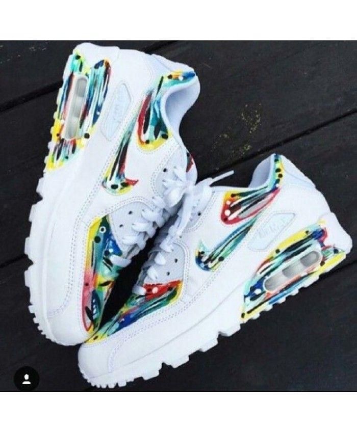 Chaussures De Sport Coloré Nike Air Max 90 Candy Drip Blanc