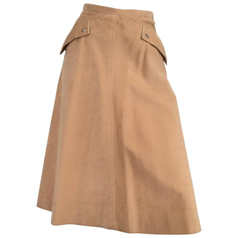 970eb5c0c356d5 Courreges 1970s Khaki Corduroy A-Line Skirt With Pockets Size 4. | From a