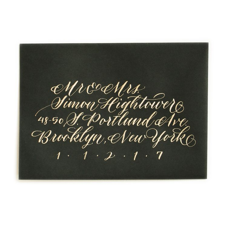 Gold ink on black envelope, 50 cent style. Wedding invitations and envelope calligraphy at Ashley Buzzy Lettering and Press