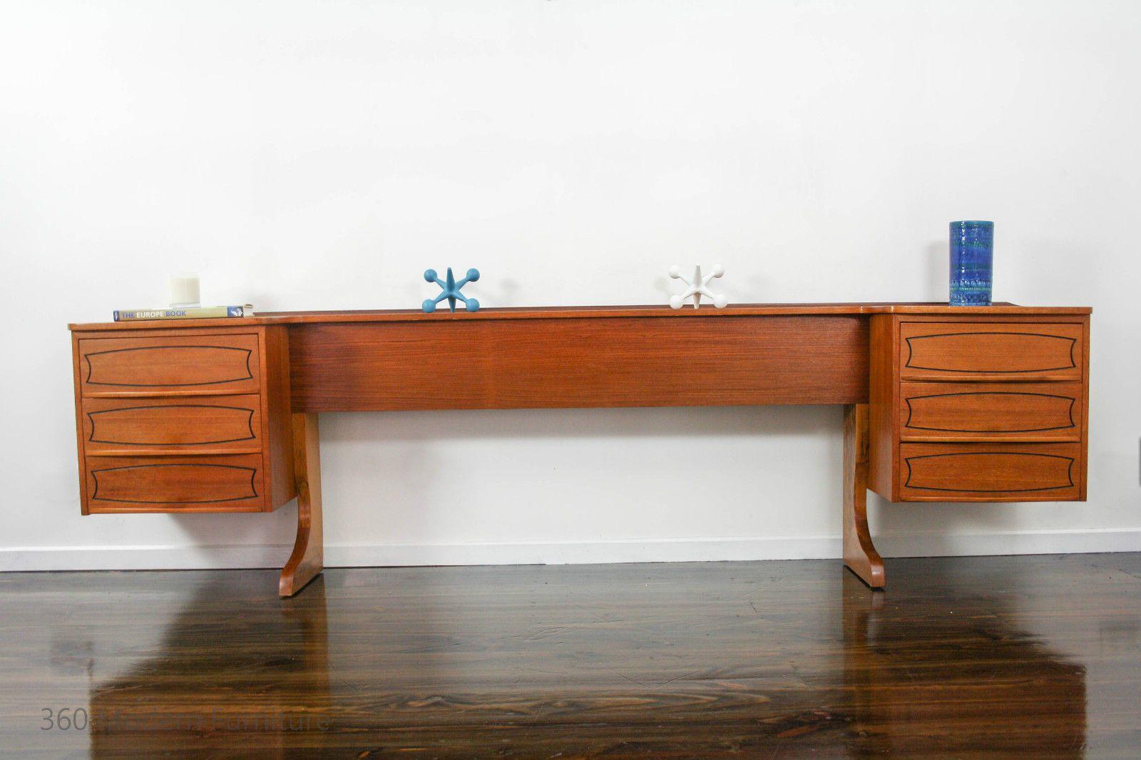 Mid Century Bedside Tables Drawers Bedhead Retro Vintage Danish