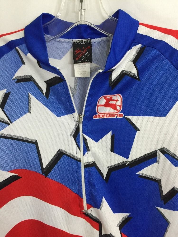 Cycling Jersey Vintage RARE USA United States Giordana 1 2 Zip Stars  Stripes  Giordana 41a7a7d4e