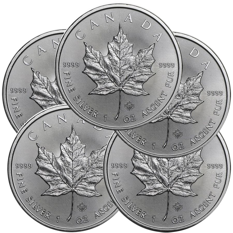 Lot Of 5 2020 1 Oz Canadian Silver Maple Leaf Coin 9999 Silver In 2020 Silver Maple Leaf Gold Coins Silver Coins