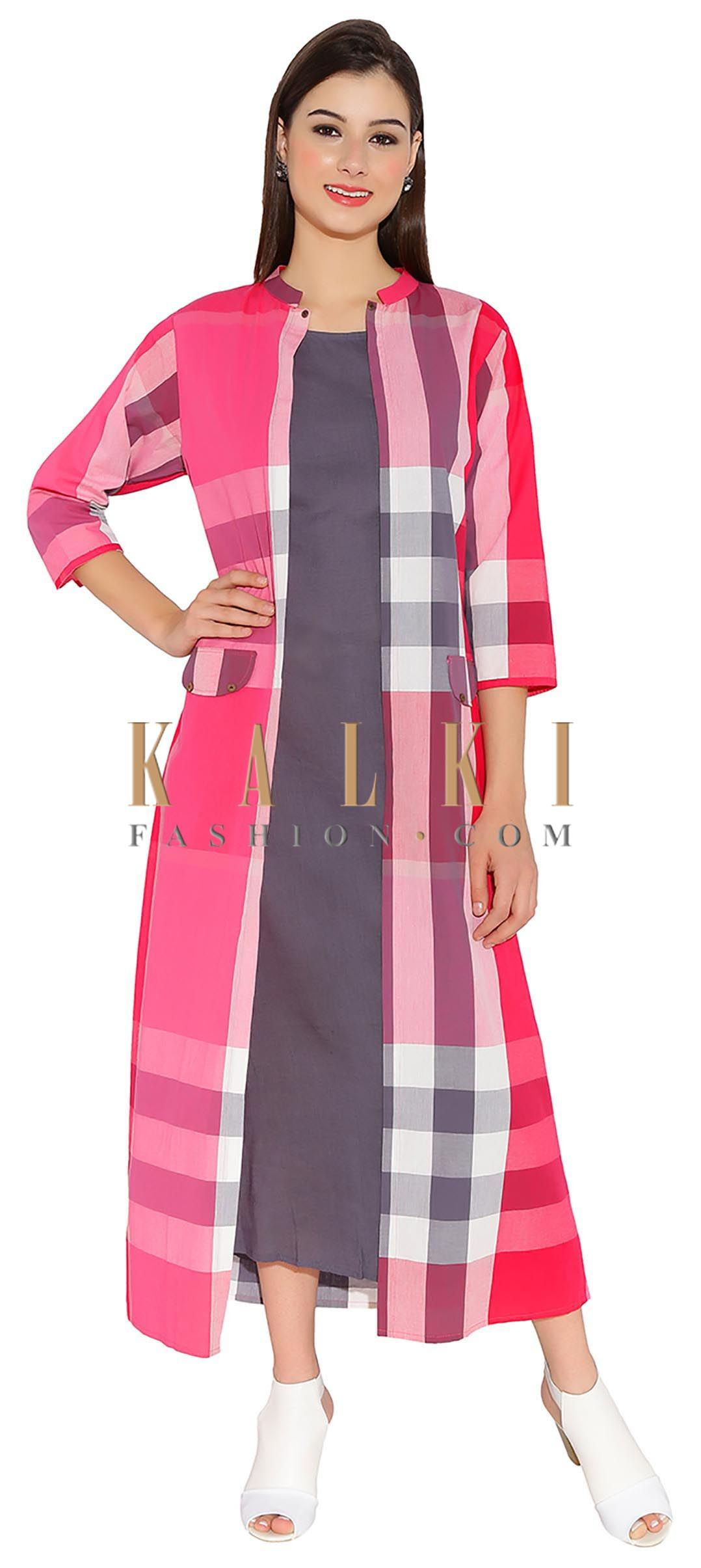 8edad6ab728 Multi Shade Of Pink Cotton Kurti With Checkered Jacket And Plain Lining  Only On Kalki