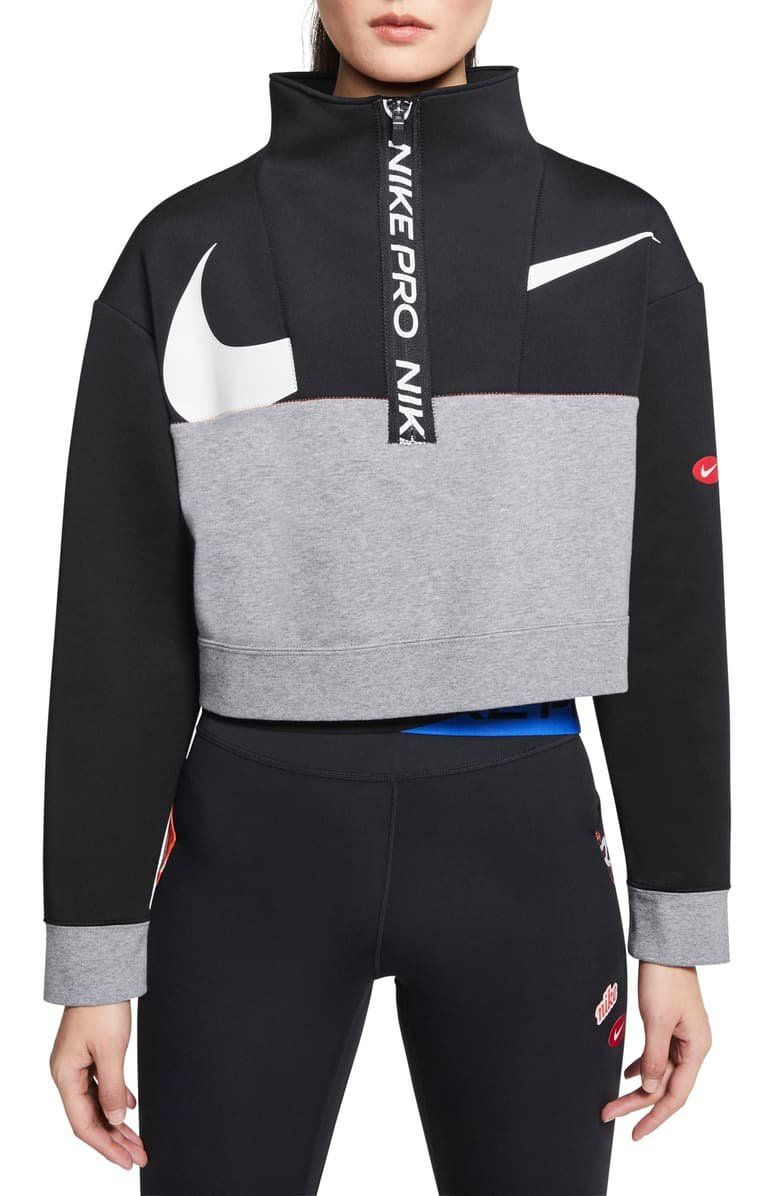 A Broken Swoosh Marks The Front Of This Soft Sweat Wicking Fleece Pullover With A Bold Nike Pro Half Zip Closure And Cozy In 2020 Half Zip Pullover Nike Pros Pullover
