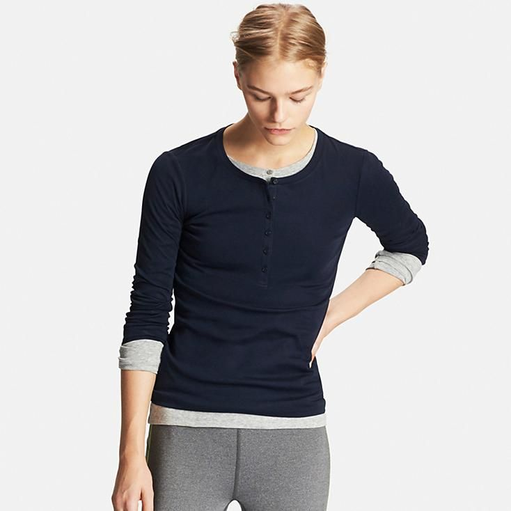9f58a158 Women's Supima® Cotton Long Sleeve Henley Neck T-Shirt | Reboot ...