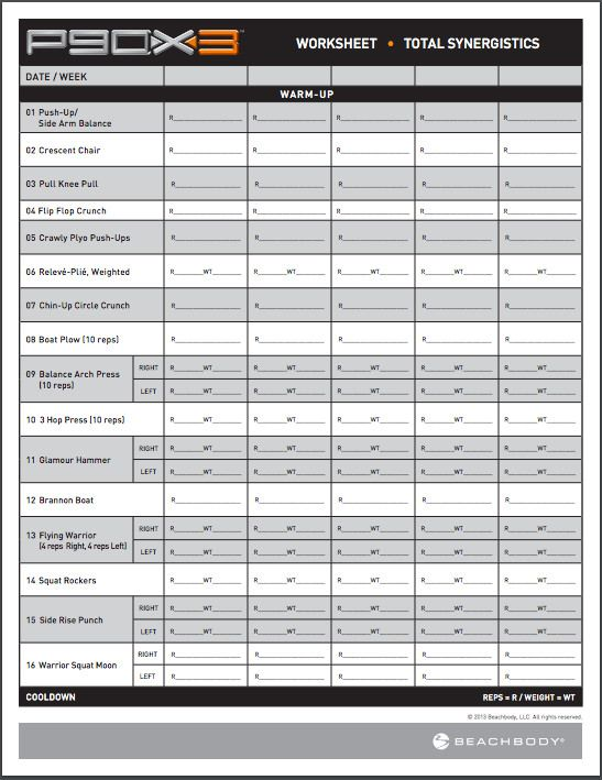 P90X3 Workout Sheets | P90X3 Total Synergistics | Free PDF Download ...