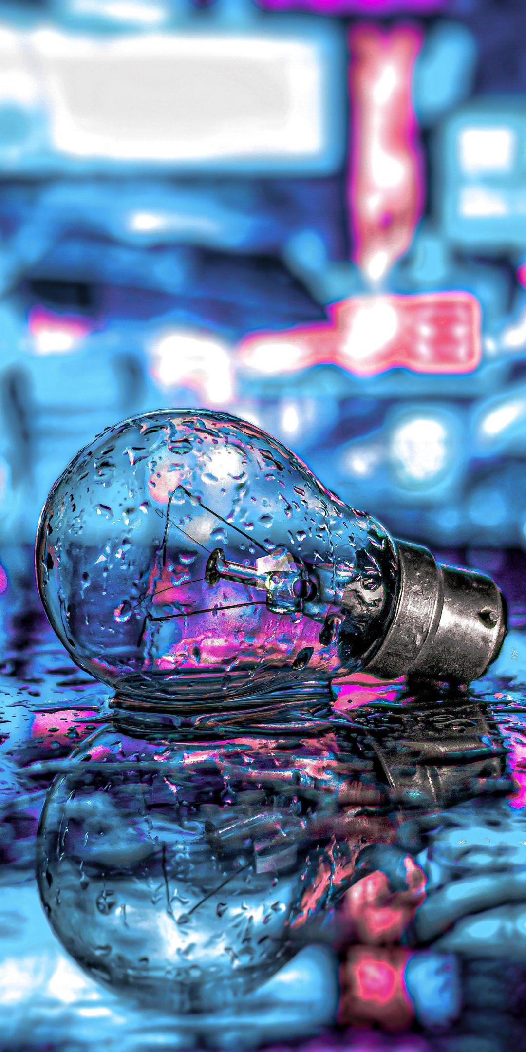 Bulb, drops, neon, 1080x2160 wallpaper