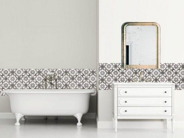Le Carrelage Adhésif Carreaux de Ciment  Un Relooking Facile \ Pas - prix carrelage salle de bain