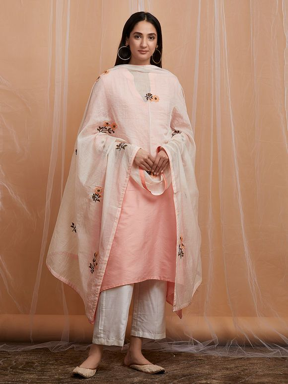 Peach Embroidered Cotton Asymmetric Kurta with White Pants ...
