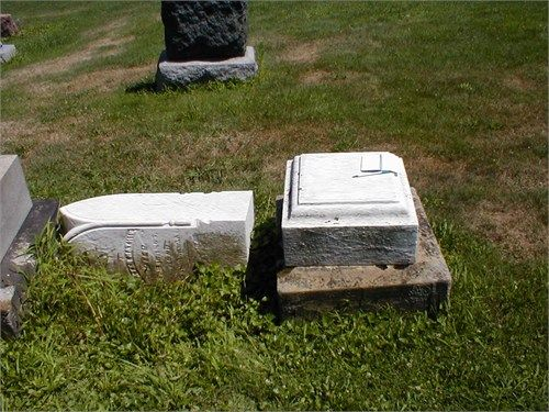 Closer picture of the tombstone of Peter & Susannah (Duck) Mathie, my great-great-great-grandparents. It was off its pedestal due to vandals. Canal Fulton cemetery in Canal Fulton, Stark Co., Ohio.