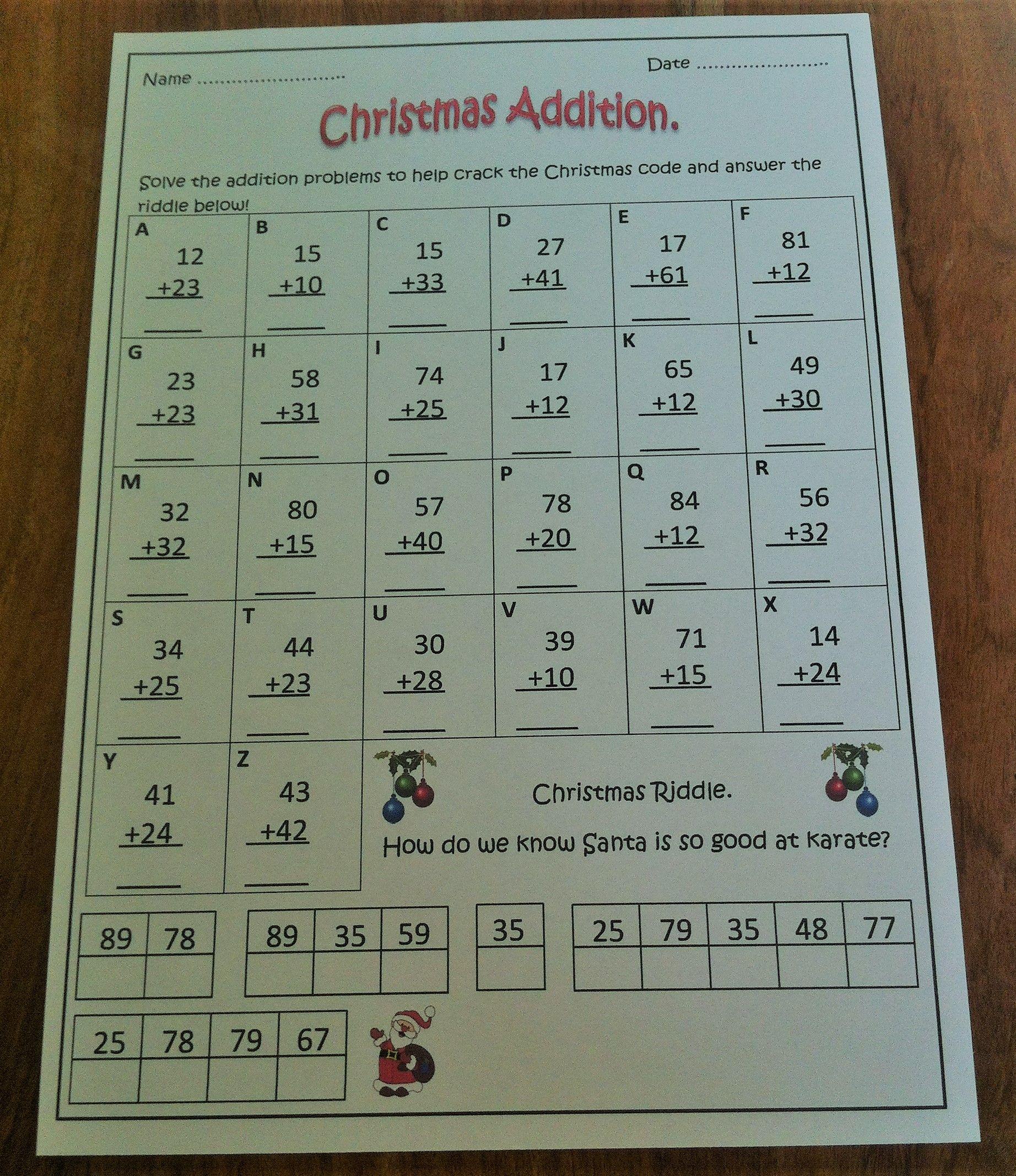 Christmas Math Worksheet Addition