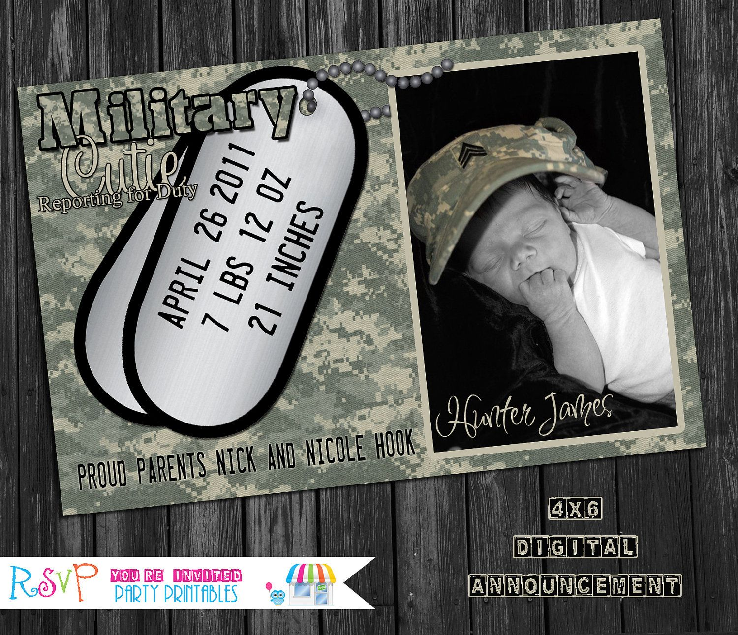 4x6 Digital Birth Announcement Military by RSVPpartyprintables, $12.00