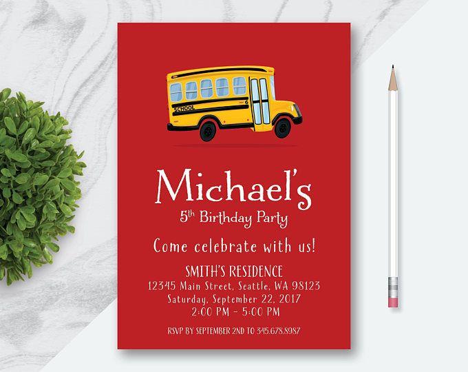 Personalized Yellow School Bus Birthday Invitation Custom Yellow - bus pass template