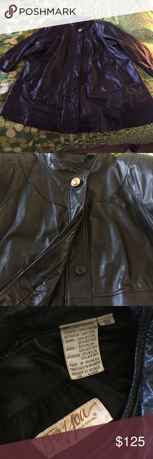 Genuine Leather Jacket Excellent used condition!!! Beautifully detailed genuine leather coat! Size 3XL FOR YOU by SPIEGEL Spiegel Jackets & Coats