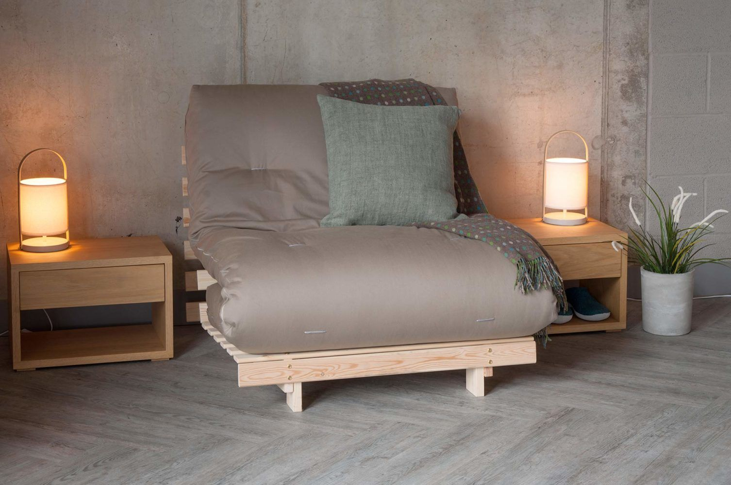 The Tokyo Futon Sofa Bed Has A Slatted Pine Base And 7 Layer Mattress