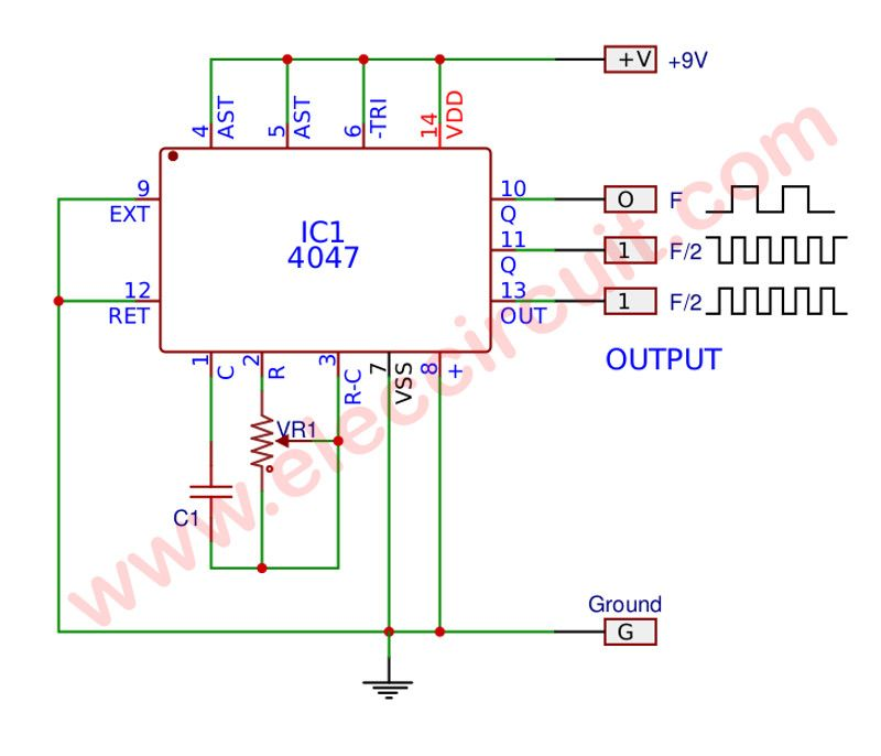 simple astable multivibrator circuit using cd4047 cmos electronicssimple astable multivibrator circuit using cd4047 cmos ic