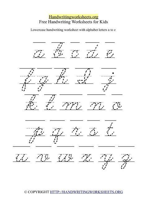 Free Lowercase Letter Worksheets Free Cursive Handwriting Worksheet With Cursive Handwriting Worksheets Handwriting Worksheets For Kids Handwriting Alphabet