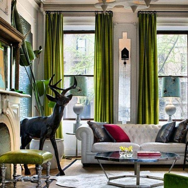30 gardinen in gr n f r alle saisons pinterest wohnzimmer vorh nge und wohnzimmer - Schwarze gardinen ...