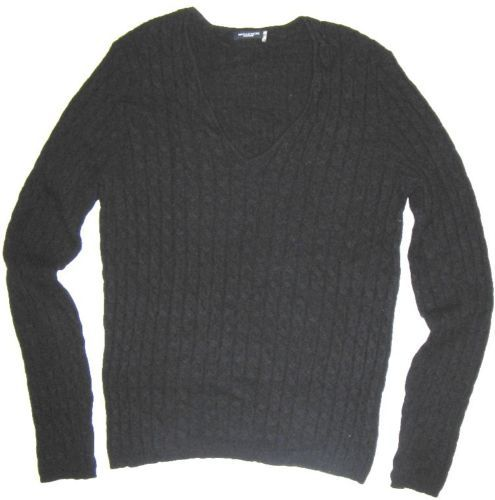 Magaschoni 100% cashmere sweater pullover v-neck black cable knit ...