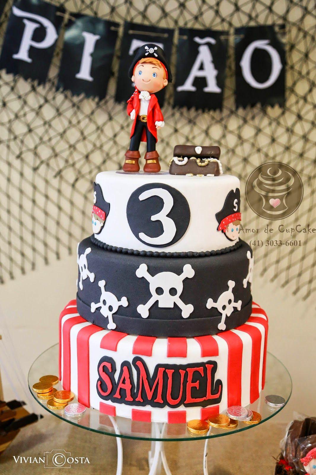 Bolo Pirata - Pirate Cake - Amor de CupCake Curitiba