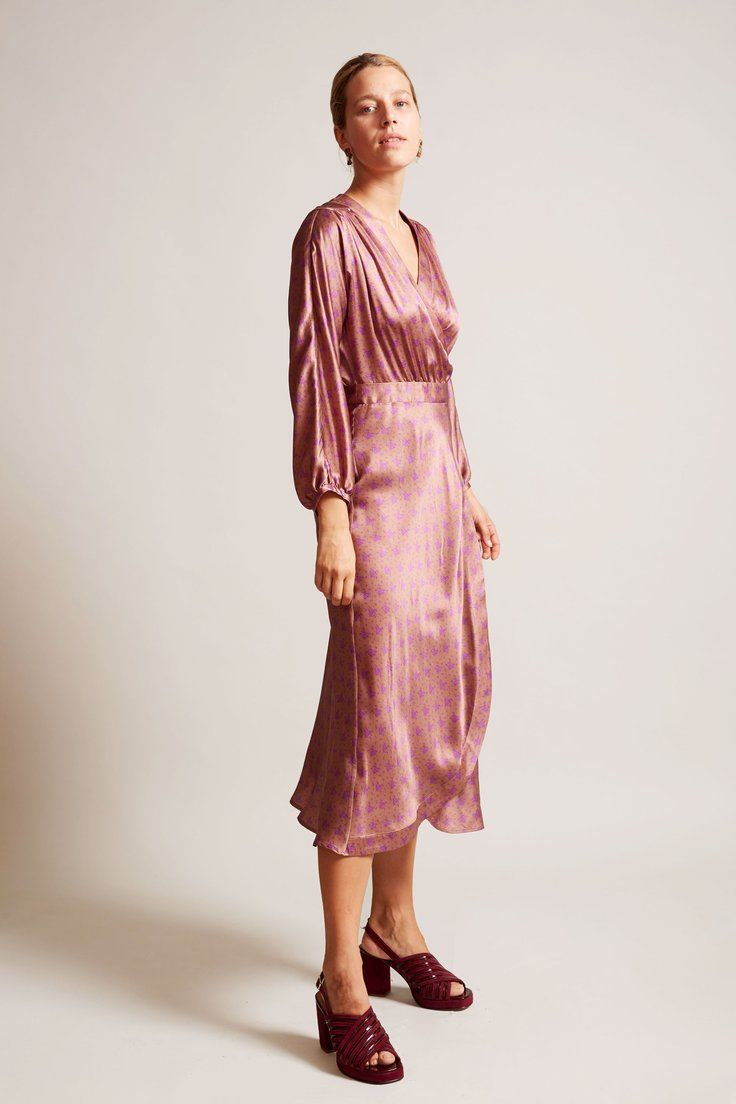 No.6 - No.6 Berta Wrap Dress in Taupe French Floral Silk Charmeuse ...