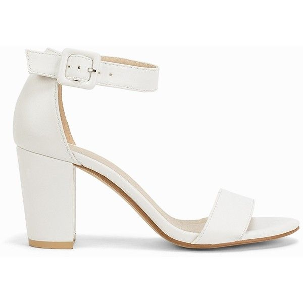 0c2f2d0582 Nly Shoes Comfy Block Heel Sandal (£38) ❤ liked on Polyvore featuring shoes,  sandals, heels, white, womens-fashion, vegan shoes, white block heel sandals,  ...