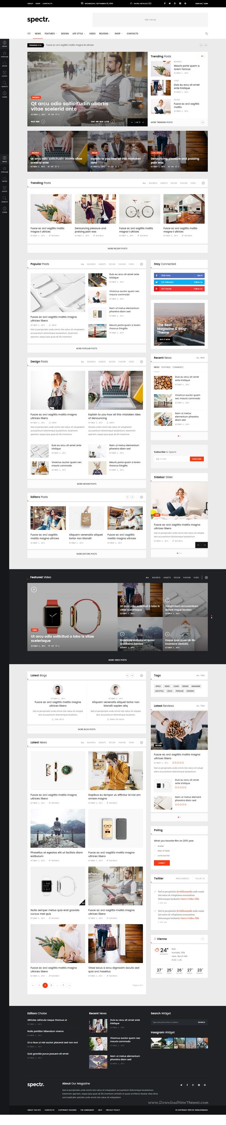 Spectr responsive news and magazine template