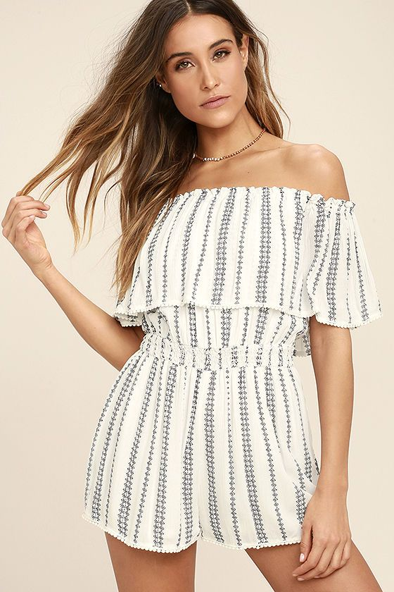 c4976698248 Get noticed in the See Ya There White Print Off-the-Shoulder Romper! Woven  fabric